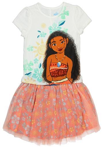 Disney Little Girls' Moana Island Girl 2 Piece Top and Skirt Set
