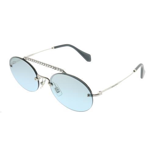 eeee7f5ec Miu Miu MU 60TS 1BC096 Silver Metal Oval Sunglasses Azure Mirror Gradient  Lens