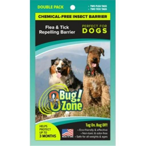 0Bug Zone Flea Tick Double Pack Barrier Tags for Dogs
