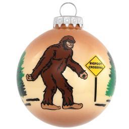 Bigfoot Crossing Glass Ornament  Christmas Xmas Funny Holiday Sasquatch Yeti