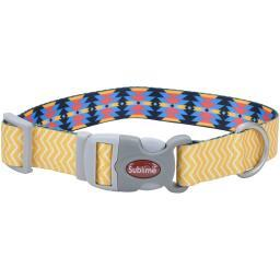 "Sublime 1"" Adjustable Dog Collar-Yellow Chevron W/Aztec, Neck Size 12-18"""