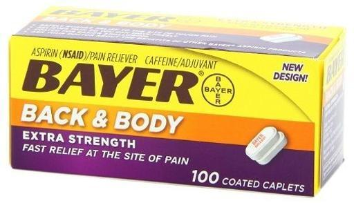 Bayer Back & Body Extra Strength Coated Caplets 100 Count