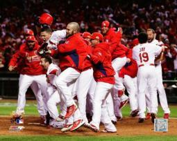 The St. Louis Cardinals Celebrate Winning Game 6 of the 2011 MLB World Series PFSAAOF07601