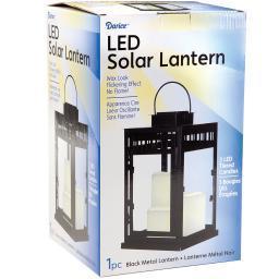 Metal Solar Lantern W/3 Led Candles-Black 6615054