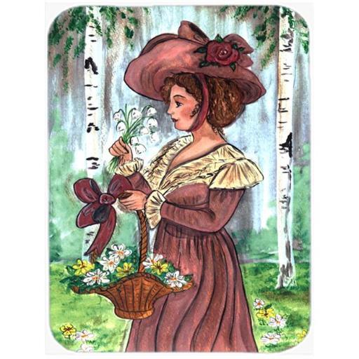 Carolines Treasures CN5002LCB Fancy Lady With Hat And Flowers Glass Cutting Board - Large 7PQIM9KOA5CQ1JFQ
