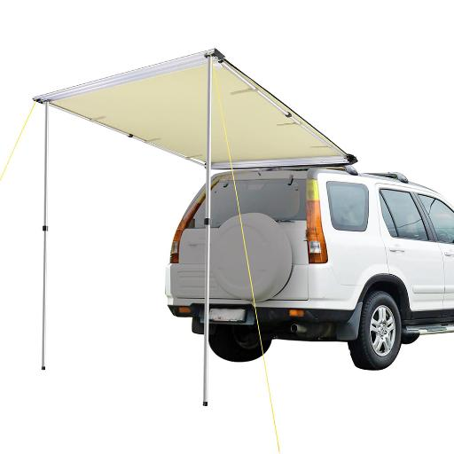 Yescom 4.6x6.6ft Car Side Awning Rooftop Pull Out Tent Shelter PU2000mm UV50+ Shade SUV Outdoor Camping Travel Beige