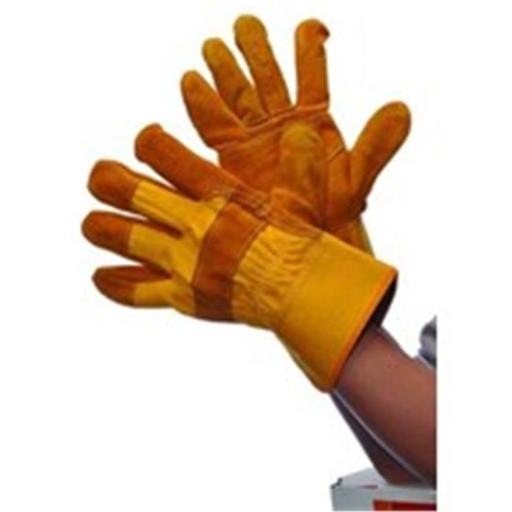 Major Gloves & Safety 30-3111Y Golden Yellow Joint Leather Double Palm Gloves - Large, Pack of 6