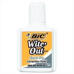 BIC 061458 Wite-Out Quick Dry Correction Fluid With Foam Applicator, White