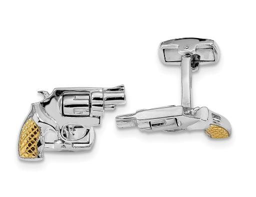 Revolver Barrel Cuff Links in Sterling Silver and Gold Plating