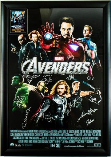 The Avengers Signed Movie Poster in Wood Frame with COA