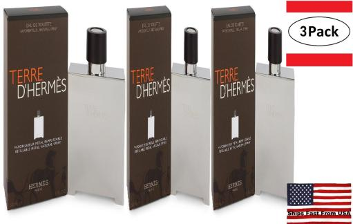 3 Pack Terre D'Hermes by Hermes Eau De Toilette Spray Refillable (Metal) 5 oz for Men Hermes Terre D'Hermes harkens to the scent of a natural man living in splendor. This elegant fragrance debuted on the market in 2006 and quickly defined itself as a leading industry standard. We are pleased to sell Hermes Terre d'Hermes products, including Terre d'Hermes cologne.