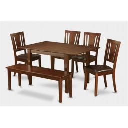 East West Furniture PSDU6D-MAH-LC 6 Piece Picasso Dining Table 32x60in With 4 Leather Upholstered Chairs and 52-in Long bench