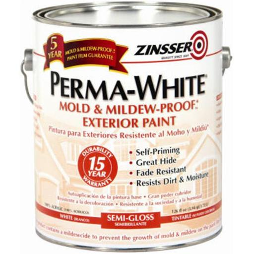 Zinsser 3131 Semi-Gloss Mold & Mildew Proof Exterior Paint, White, Gallon
