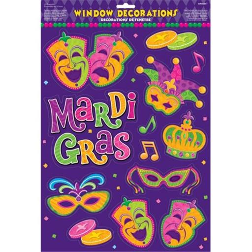 Amscan 210809 Mardi Gras Vinyl Window Decoration - Pack of 6