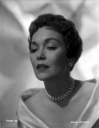 Jane Wyman Portrait in White Long Sleeve Shoulder Dress and Pearl Necklace with Pearl Earrings Photo Print