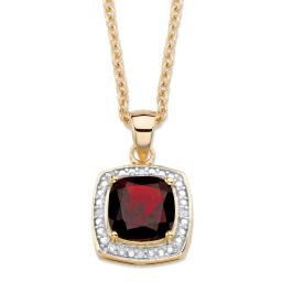 """2.20 TCW Genuine Cushion-Cut Red Garnet and Diamond Accent Pave-Style Halo Pendant Necklace in 14k Gold over Sterling Silver 18""""-20"""""""