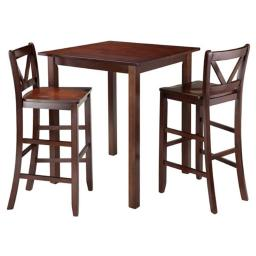 Winsome 94348 38.9 x 33.86 x 33.86 in. Parkland High Table with 2 Bar V-Back Stools, Walnut - 3 Piece
