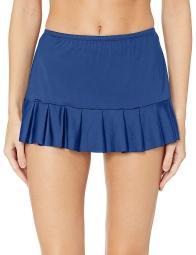 24th & Ocean Women's Mid Waist Skirted Hipster Bikini, Navy//Solid, Size Medium