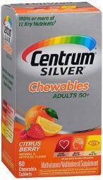 Centrum Silver Adults 50+ Chewables Tablets Citrus Berry - 60 Ct