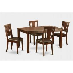 East West Furniture DUDL5-MAH-LC 5 Piece Dudley 36 in. x60 in. Table and 4 Faux Leather Seat Chairs