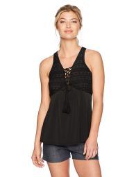BCBGeneration Women's Tassle Tie Top, Black Large, Black, Size Large