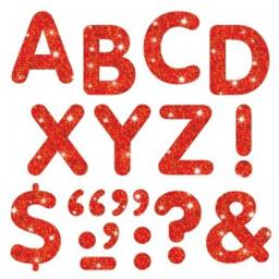Trend Enterprises T-78301BN Stick-Eze 2 in. Red Sparkle Letters Numbers Punctuation Marks, 107 Per Pack - Pack of 6