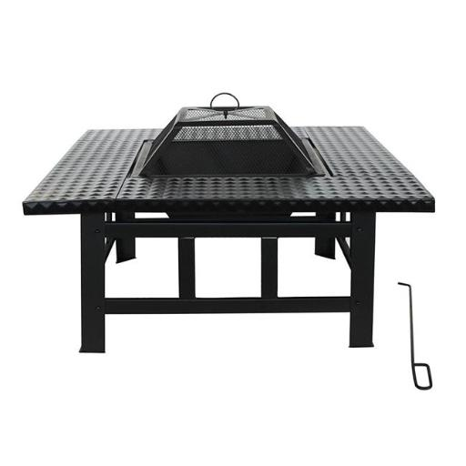 30 in. Heavy Duty Steel Table Top Fire Pit Kit with Flame Retardant Lid & Poker, Black