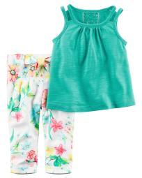 Carter's Baby Girls' 2 Piece Tank & Floral Pant Set, 3 Months