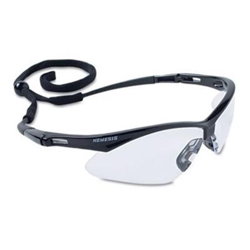 Nemesis Safety Glasses, Black Frame, Clear Lens