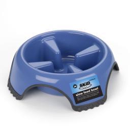 Petmate 63240 Blue Petmate Jw Skid Stop Slow Feed Dog Bowl Medium Blue 8.5 X 8.5 X 2.5