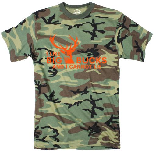 I Like Big Bucks And I Cannot Lie Youth Camo Tshirt Funny Hunting Tee