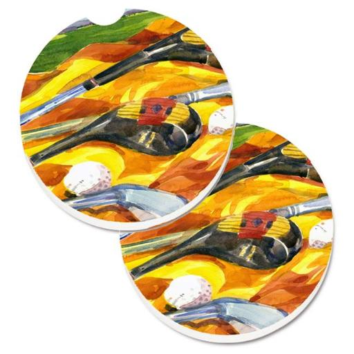 Carolines Treasures 6063CARC Golf Clubs Golfer Set of 2 Cup Holder Car Coaster