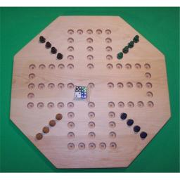 Charlies Woodshop W-1932.5 PEG 18 in. Octagon Aggravation Wooden PEG Game Board, Hard Maple Oiled - 4-Player - 5-Hole