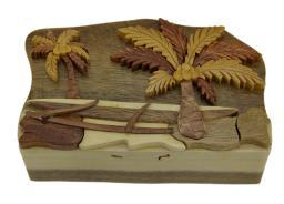 Tropical Palm Trees Hand Crafted Wooden Puzzle/Trinket Box