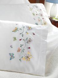"Stamped Embroidery Pillowcase Pair 20""X30"" Butterflies In Flight"