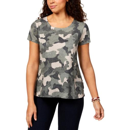 Style & Co. Womens Petites Camouflage Short Sleeves Blouse