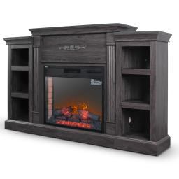 DELLA 28 In. Electric Fireplace & Entertainment Stand in Grey with Enhanced Log Display