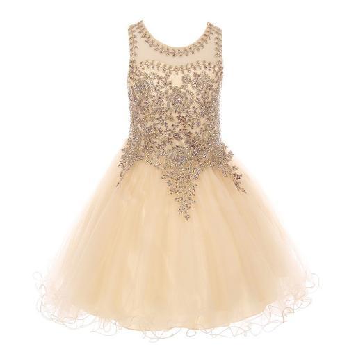 Little Girls Champagne Gold Coil Lace AB Rhinestone Flower Girl Dress 4-6
