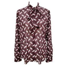 Michael Kors Women's Chevron Georgette Tie-Neck Blouse Size Large
