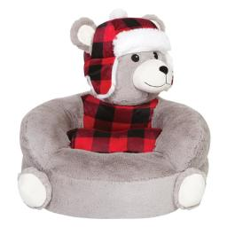 Trend-Lab 103409 Childrens Plush Buffalo Check Bear Character Chair - Black, Gray & Red - 21 x 19 x 19 in.