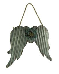 Galvanized Metal Angel Wings with Flower Wall Sculpture