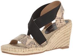 ADRIENNE VITTADINI Footwear Women's Charlene Espadrille Wedge Sandal, Natural Black, 7 M US