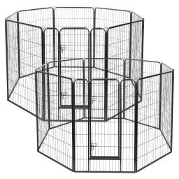 "Yescom 16 Pieces 31""x47"" Pet Playpen Extra Large Dog Exercise Fence Panel Crate Outdoor"