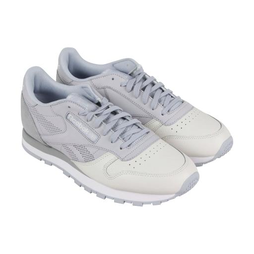 3d775f30e87 Reebok Classic Leather Ue Mens Gray Leather Athletic Lace Up Training Shoes