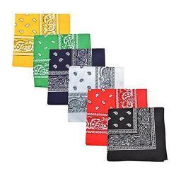 Pack of 100 Paisley 100% Cotton Bandanas Novelty Headwraps - Bulk Wholesale - 22 inches