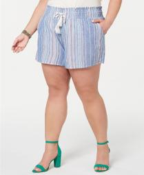 Planet Gold Juniors Trendy Plus Size Cotton Smocked Shorts