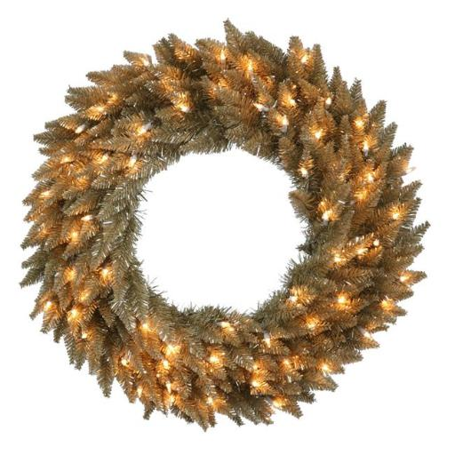 Vickerman K156431LED Antique Champagne Dura Wreath with Warm White LED Lights, 30 in.