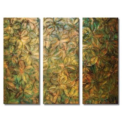 All My Walls 0099ME00016 Metallic Flowers Metal Wall Hanging, Brown, Blue & Beige