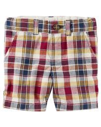 Carter's Little Boys' Cotton Short- Plaid- 224g463- 4-Kids