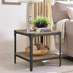 Walker Edison C20AISTBW Angle Iron Rustic Wood End Table - Barnwood, Set of 2